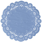 "French blue color paper doilies available in the delicate French lace style and in sizes ranging from 4"" to 12"""