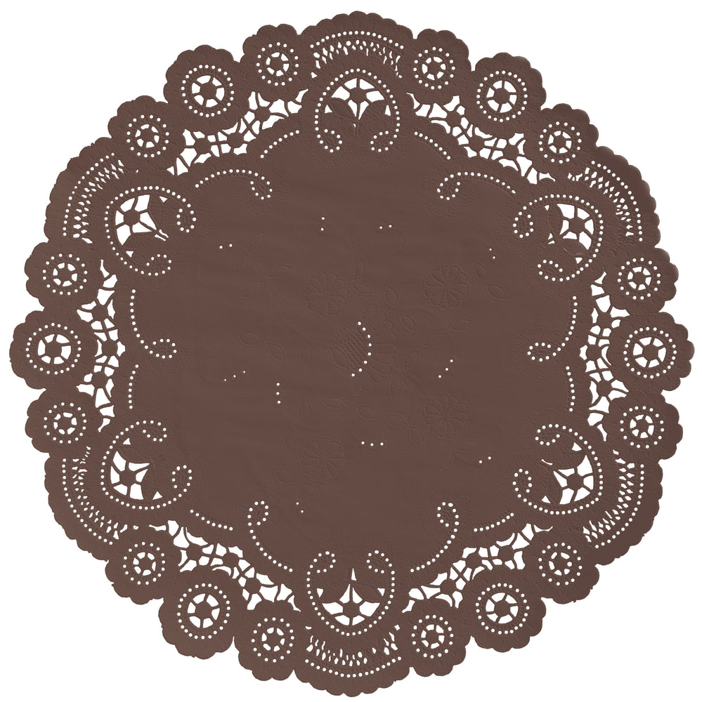 "Friar brown color paper doilies available in the delicate French lace style and in sizes ranging from 4"" to 12"""