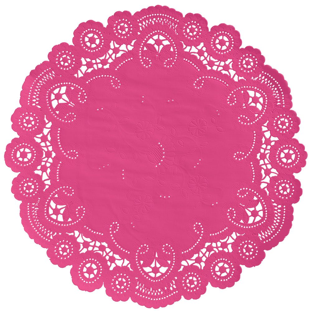 "Fuchsia berry color paper doilies available in the delicate French lace style and in sizes ranging from 4"" to 12"""