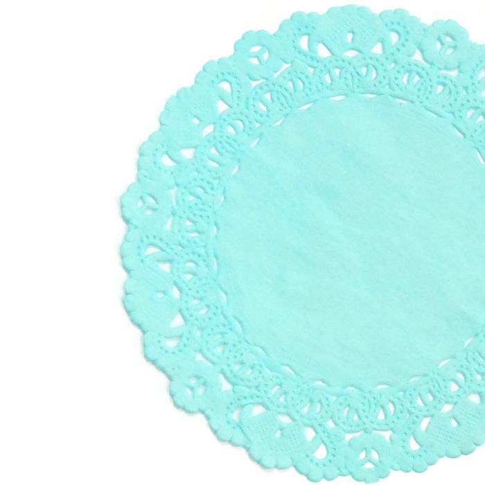 "Glacier Light blue color doily in sizes from 4"" to 16"""