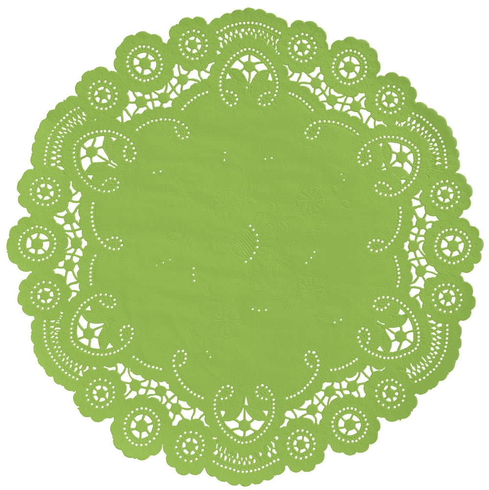 "Granny apple color paper doilies available in the delicate French lace style and in sizes ranging from 4"" to 12"""