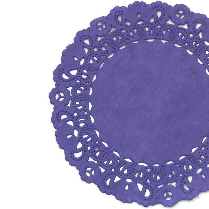 "Grape purple paper doilies available in 4"" through 16"" sizes"