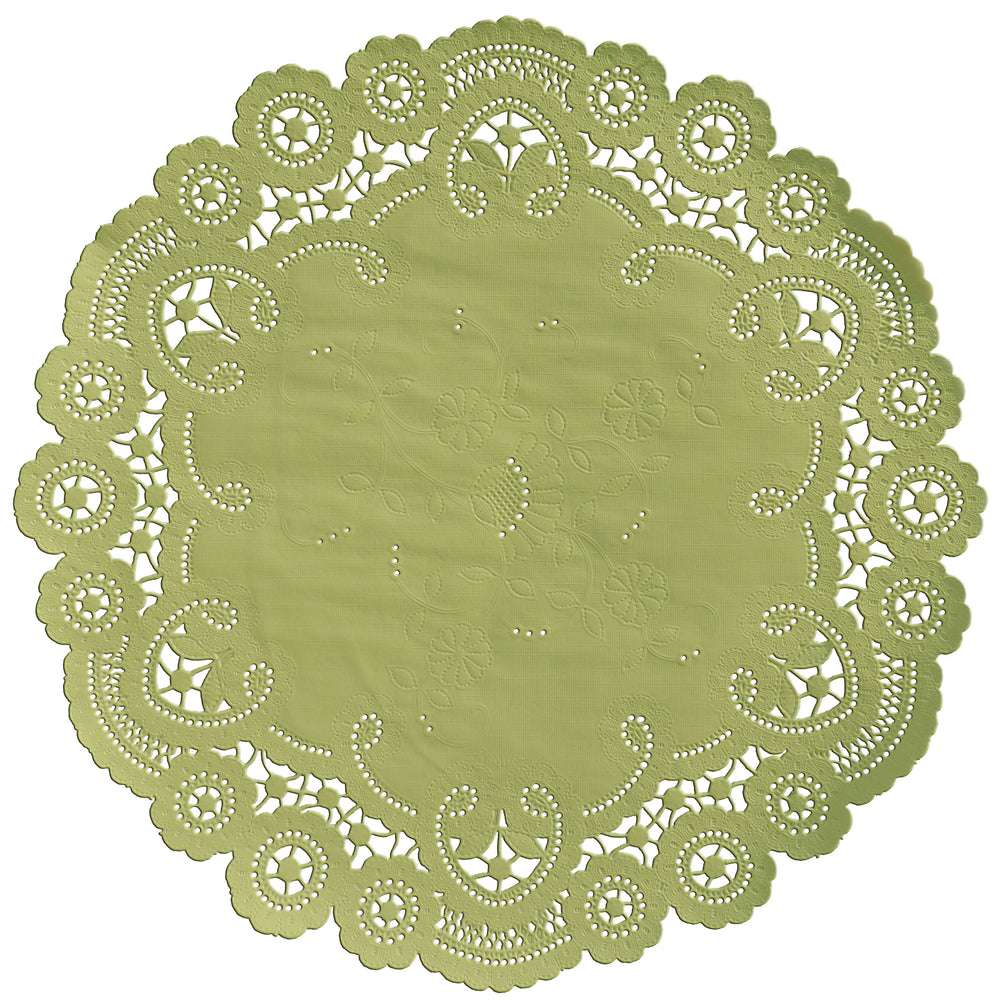 "Grasshopper color paper doilies available in the delicate French lace style and in sizes ranging from 4"" to 12"""