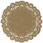 "Harvest Gold color paper doilies available in the delicate French lace style and in sizes ranging from 4"" to 12"""