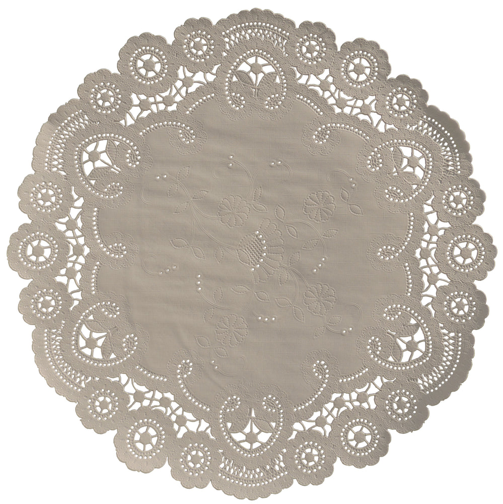 "Hazelnut color paper doilies available in the delicate French lace style and in sizes ranging from 4"" to 12"""