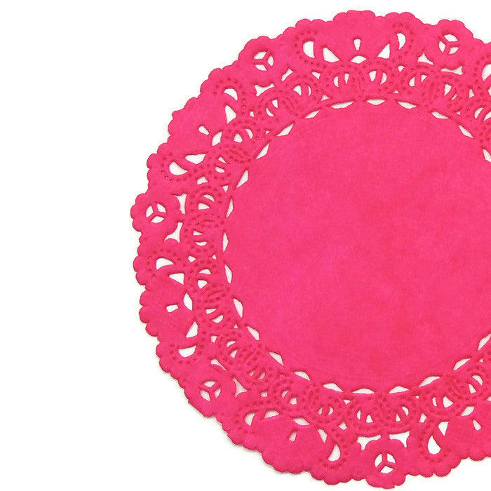 "HOT PINK ROSE Round Paper Doilies | Normandy | Chargers, Placemats, Invitations | 4"", 5"", 6"" 8"", 10"", 12"", 14"", 16"""