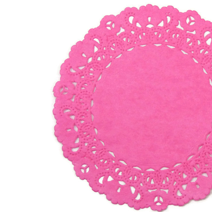 "HOT PINK Round Paper Doilies | Normandy | Chargers, Placemats, Invitations | 4"", 5"", 6"" 8"", 10"", 12"", 14"", 16"""