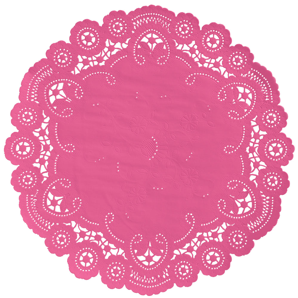 "Hot pink color paper doilies available in the delicate French lace style and in sizes ranging from 4"" to 12"""