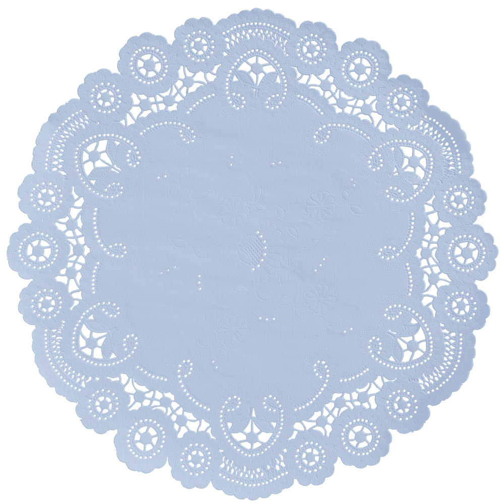 "Ice blue color paper doilies available in the delicate French lace style and in sizes ranging from 4"" to 12"""