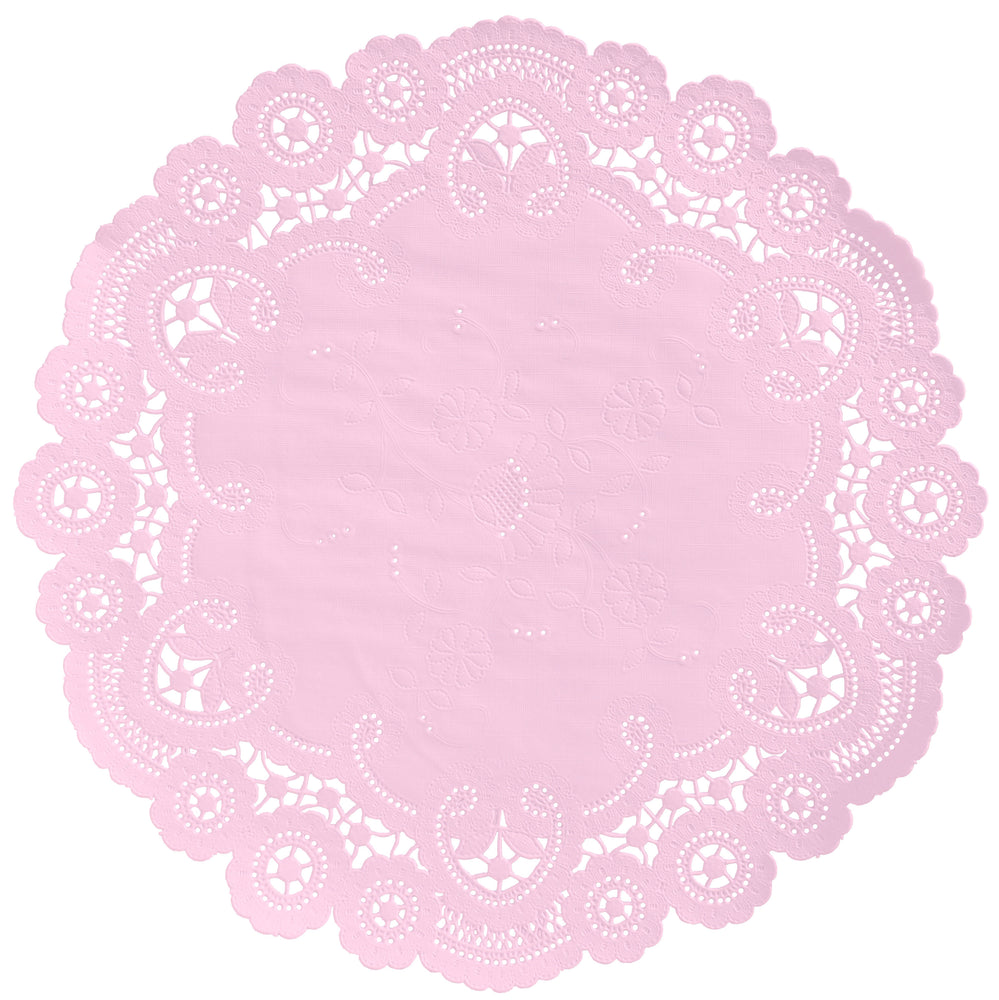 "Ice pink color paper doilies available in the delicate French lace style and in sizes ranging from 4"" to 12"""
