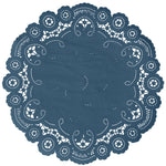 "Indigo color paper doilies available in the delicate French lace style and in sizes ranging from 4"" to 12"""