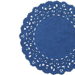 "Indigo blue color paper doilies available in the Normandy style and in sizes ranging from 4"" to 16""."