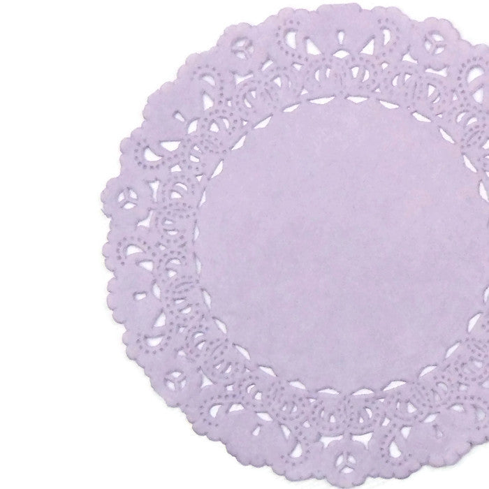 "Iris Purple paper doilies in 4"" to 16"" sizes"