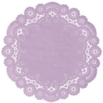 "Iris color paper doilies available in the delicate French lace style and in sizes ranging from 4"" to 12"""