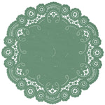"Jade green color paper doilies available in the delicate French lace style and in sizes ranging from 4"" to 12"""