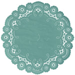 "Jewel Green color paper doilies available in the delicate French lace style and in sizes ranging from 4"" to 12"""