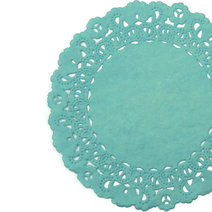 "Jewel Teal Green color doily available in 4"" to 16"" sizes"