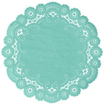 "Lagoon color paper doilies available in the delicate French lace style and in sizes ranging from 4"" to 12"""