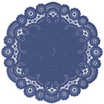 "Lapis blue color paper doilies available in the delicate French lace style and in sizes ranging from 4"" to 12"""