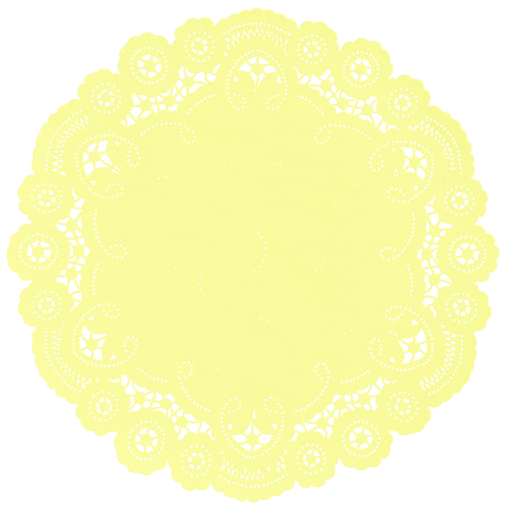 "Lemon Chiffon color paper doilies available in the delicate French lace style and in sizes ranging from 4"" to 12"""