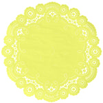"Bright yellow color paper doilies available in the delicate French lace style and in sizes ranging from 4"" to 12"""