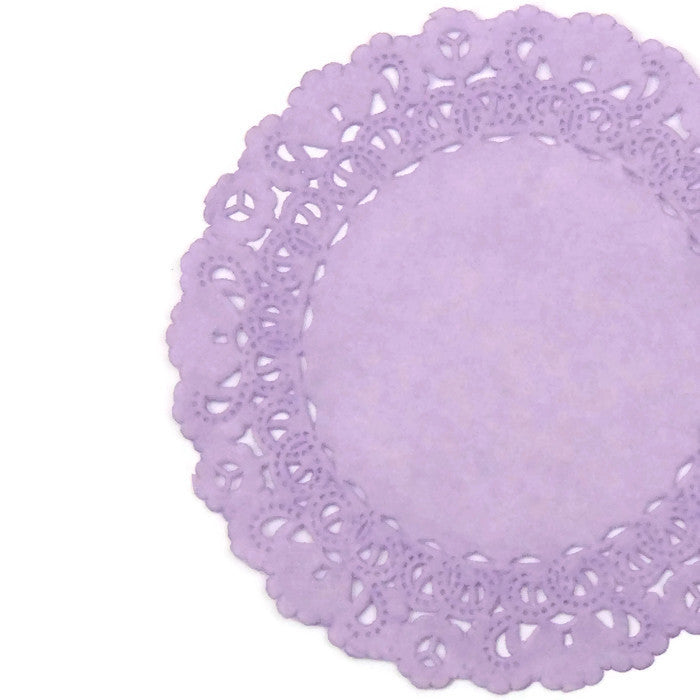 "Dusty Lilac paper lace doilies in 4"" to 16"" sizes"