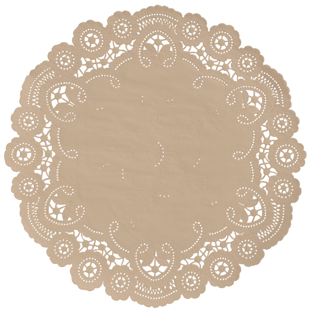 "Light kraft color paper doilies available in the delicate French lace style and in sizes ranging from 4"" to 12"""