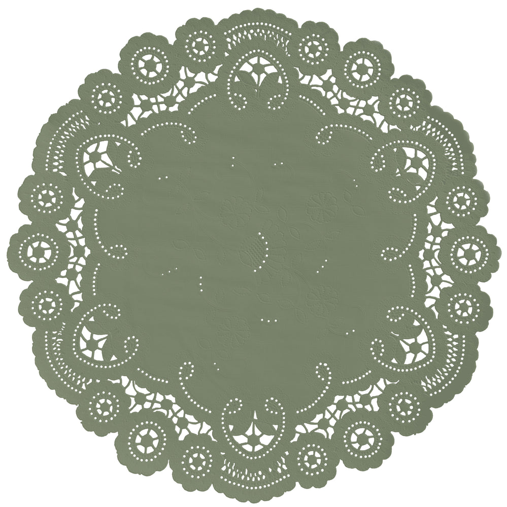 LIGHT OLIVE GREEN French Lace Doilies