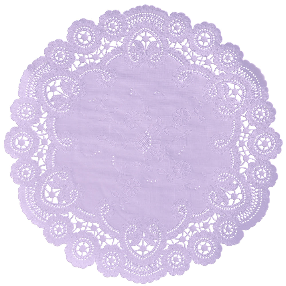 "Lilac color paper doilies available in the delicate French lace style and in sizes ranging from 4"" to 12"""