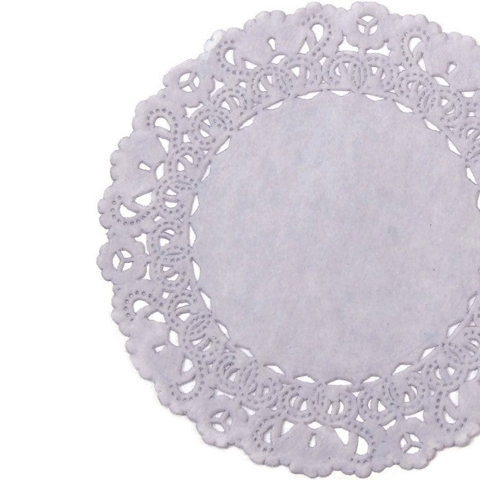 "Lilac mist paper doilies in 4"" to 16"" sizes"