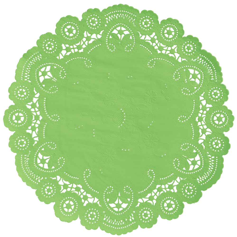 "Lime squeeze color paper doilies available in the delicate French lace style and in sizes ranging from 4"" to 12"""