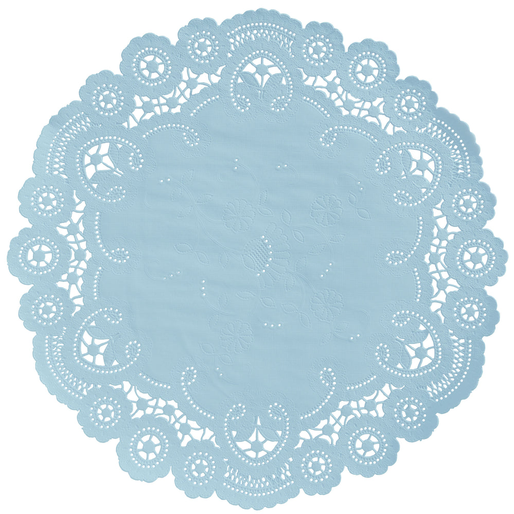 "Little boy blue color paper doilies available in the delicate French lace style and in sizes ranging from 4"" to 12"""