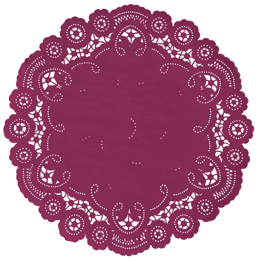 "Dark magenta color paper doilies available in the delicate French lace style and in sizes ranging from 4"" to 12"""