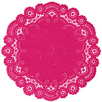 "Magenta color paper doilies available in the delicate French lace style and in sizes ranging from 4"" to 12"""