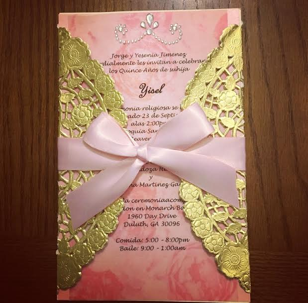 "DIY invitation using an 8"" doily - also available in silver foil"