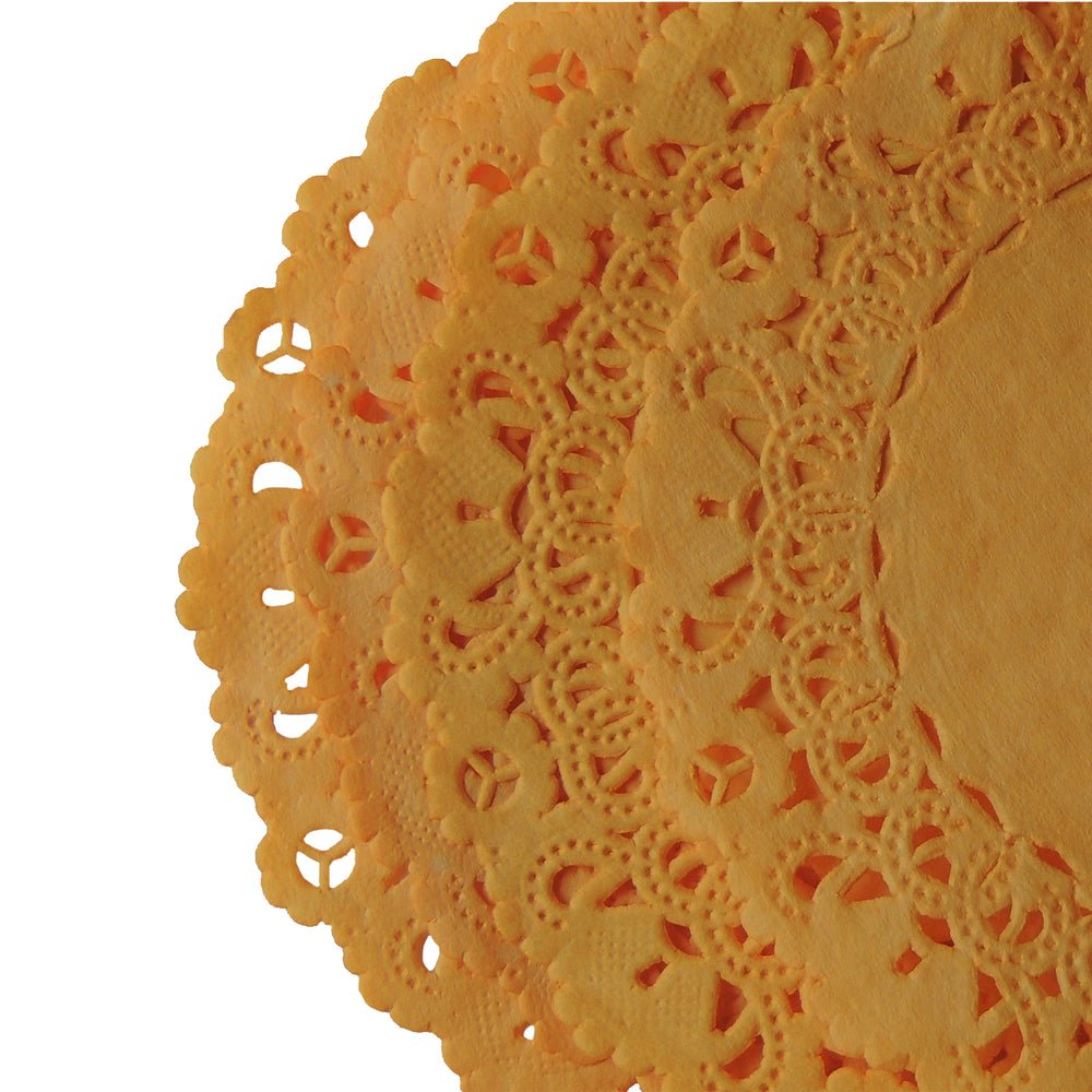 "Marigold color paper doilies available in sizes 4"" to 16"""