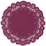 "Marsela color paper doilies available in the delicate French lace style and in sizes ranging from 4"" to 12"""