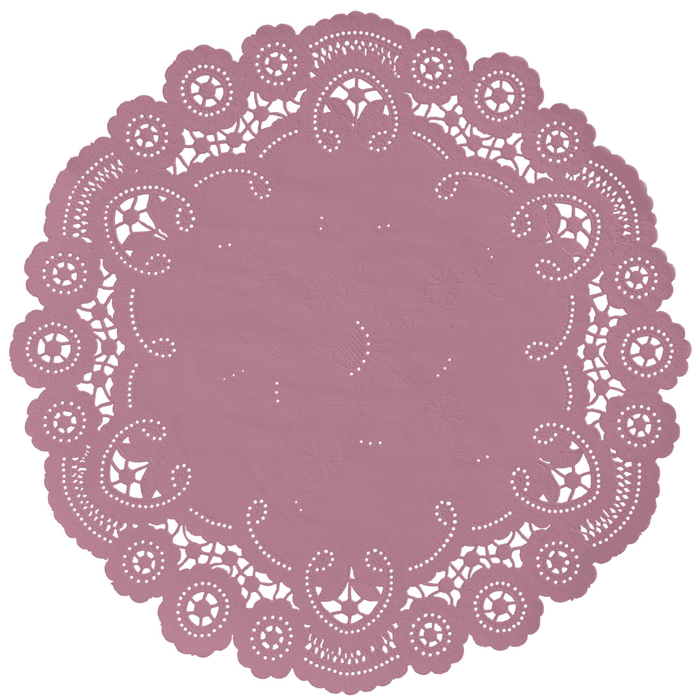 "Mauve pink color paper doilies available in the delicate French lace style and in sizes ranging from 4"" to 12"""