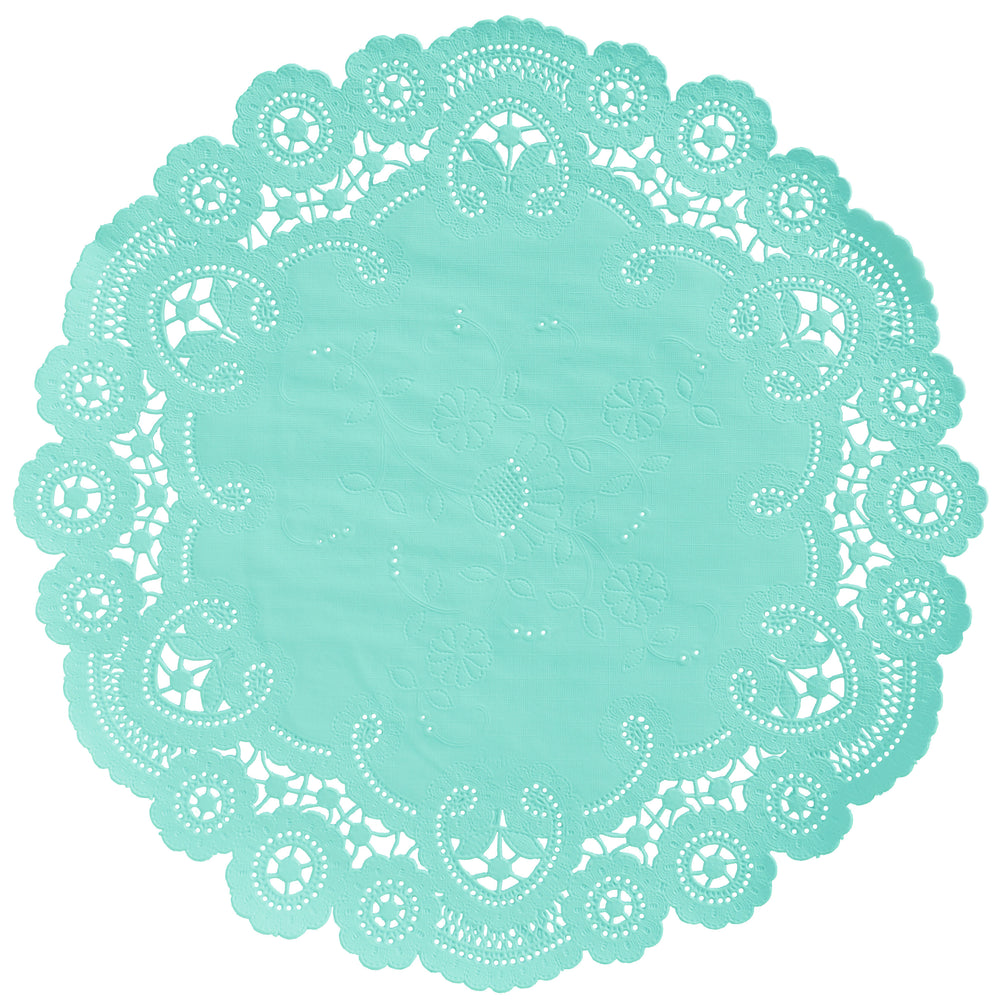 "Mint candy color paper doilies available in the delicate French lace style and in sizes ranging from 4"" to 12"""
