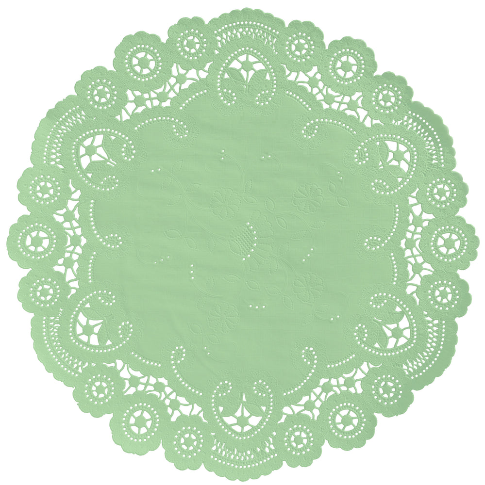"Mint julep color paper doilies available in the delicate French lace style and in sizes ranging from 4"" to 12"""