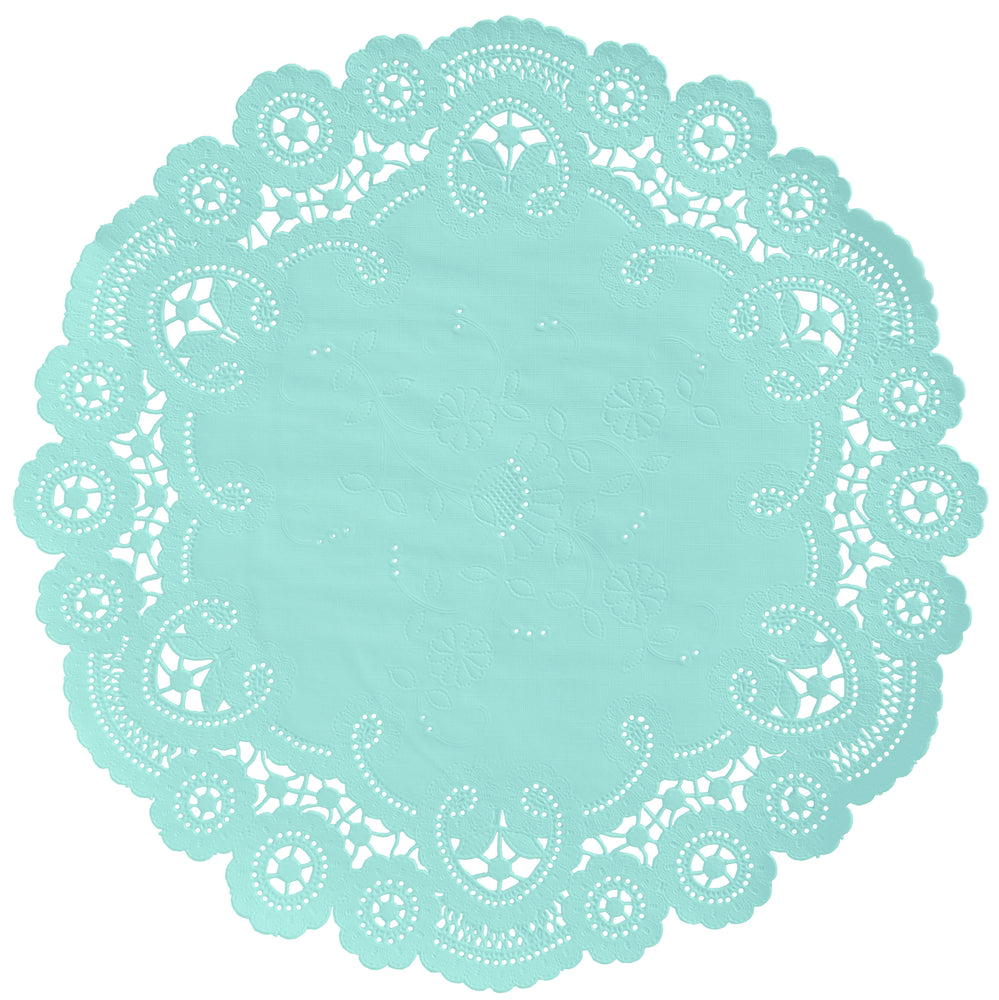 "Misty Aqua color paper doilies available in the delicate French lace style and in sizes ranging from 4"" to 12"""