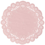 "Misty rose color paper doilies available in the delicate French lace style and in sizes ranging from 4"" to 12"""