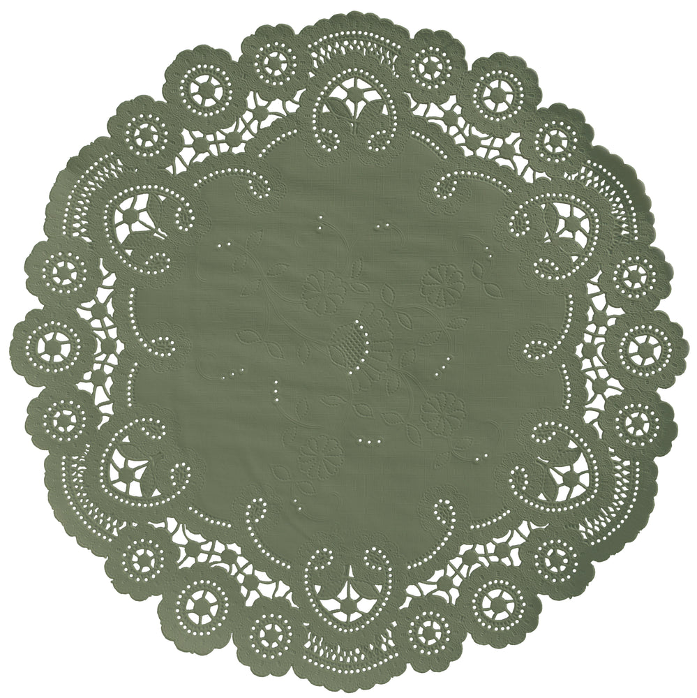 "Moss green color paper doilies available in the delicate French lace style and in sizes ranging from 4"" to 12"""