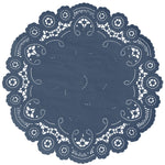 "Nautical color paper doilies available in the delicate French lace style and in sizes ranging from 4"" to 12"""
