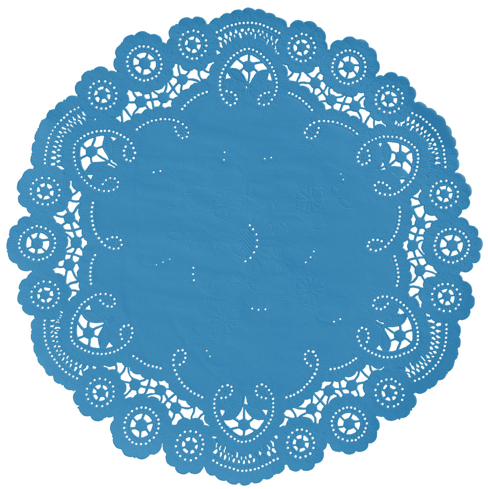 "Niagra blue color paper doilies available in the delicate French lace style and in sizes ranging from 4"" to 12"""