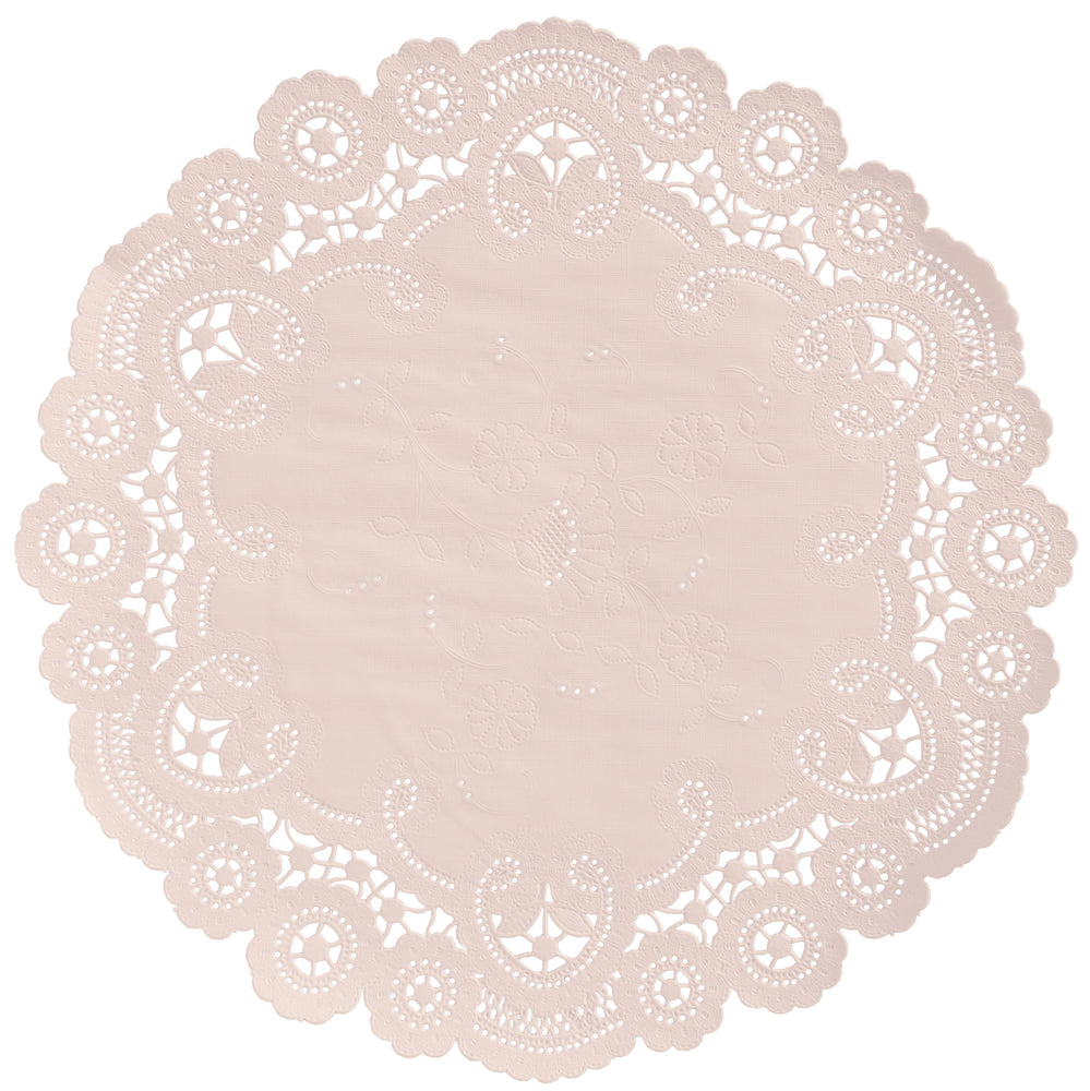 "Nude color paper doilies available in the delicate French lace style and in sizes ranging from 4"" to 12"""