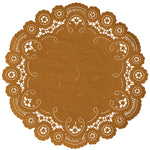"Old gold color paper doilies available in the delicate French lace style and in sizes ranging from 4"" to 12"""