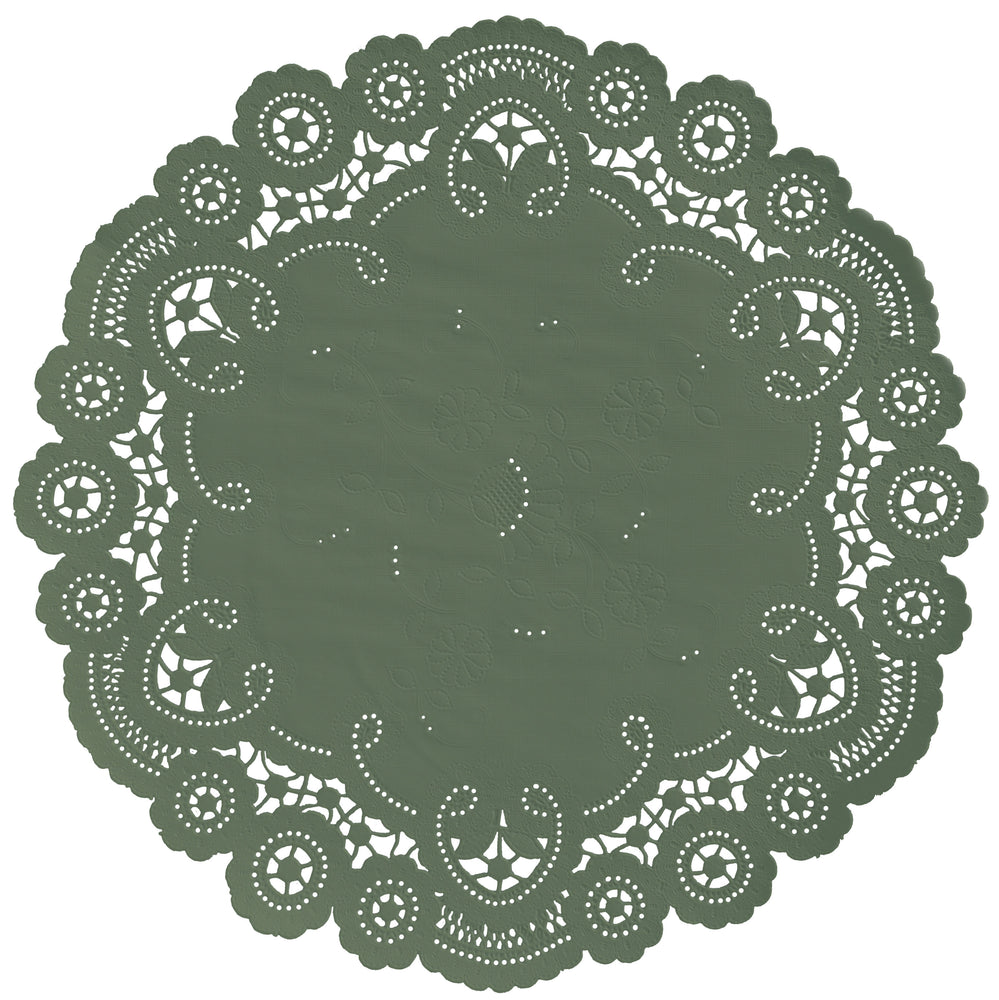 "Olive green color paper doilies available in the delicate French lace style and in sizes ranging from 4"" to 12"""