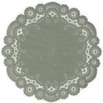 "Olive grove color paper doilies available in the delicate French lace style and in sizes ranging from 4"" to 12"""