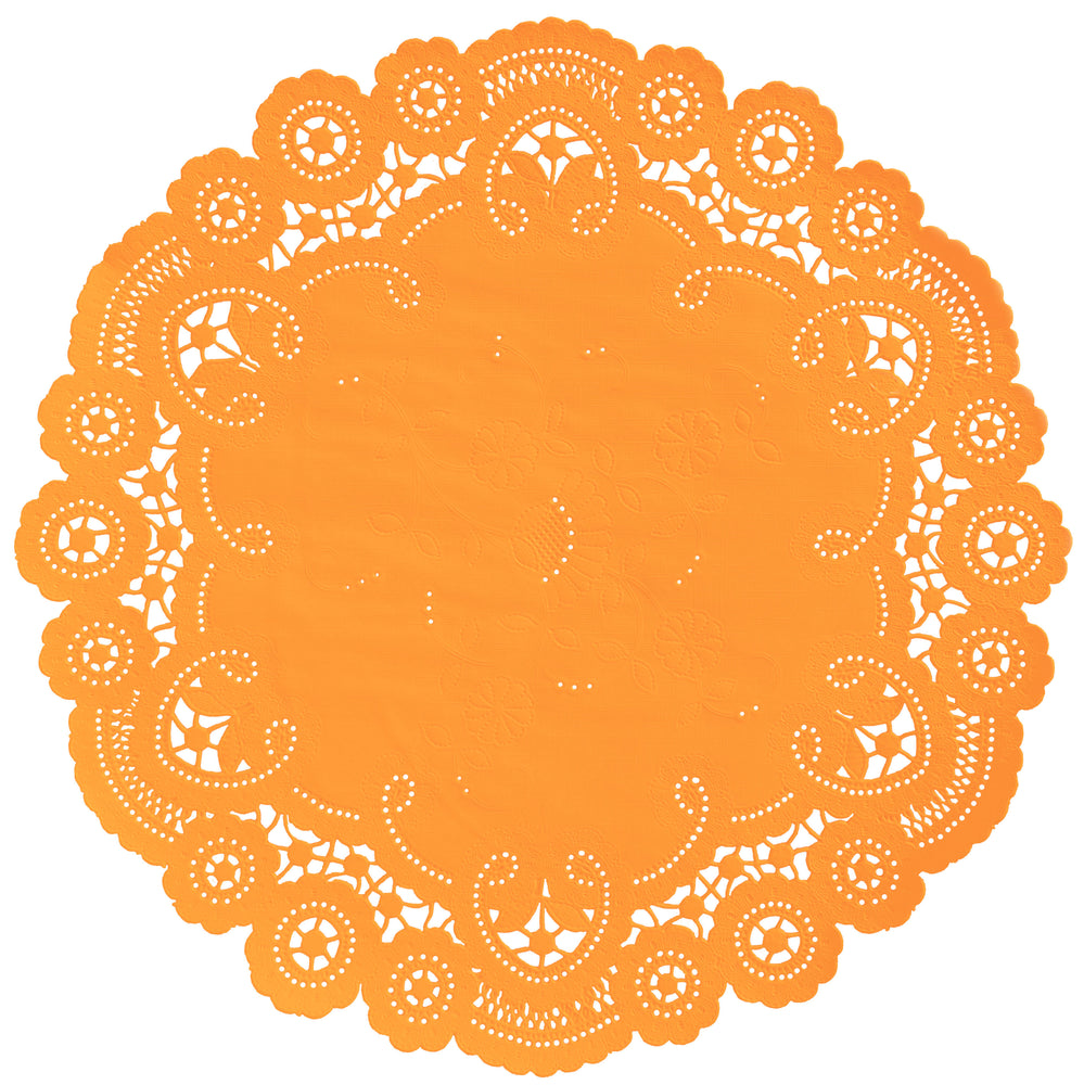 "Orange color paper doilies available in the delicate French lace style and in sizes ranging from 4"" to 12"""